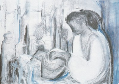 """""""Girl with pots by the window """". 1988"""